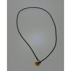 Læder bånd med rav lås / Leather with amber clasp 45 cm
