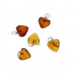 Lille Rav  Hjerter / Small Amber Heart Pendant 6